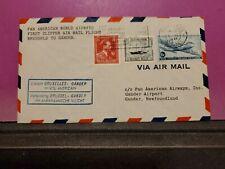 Belgium First Flight Cover Brussels To Gander 6/15/1946