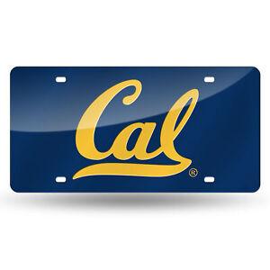 Cal Berkeley Bears Blue Mirrored Laser Cut License Plate Laser Tag