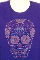 Motorcycle T-shirt Sugar Skull Ladies Bling Purple Short Sleeve Small New