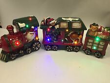 Christmas Decoration Light Up Musical Ceramic Santa Driven Train w 2 carriages