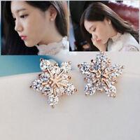 1Pair Women Crystal Rhinestone Ear Stud Snow Flower Fashion Earrings Jewelry