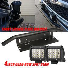"2X 4"" 240W QUAD-Row Led Light Bar+Bull Front Bumper License Plate Mount Bracket"