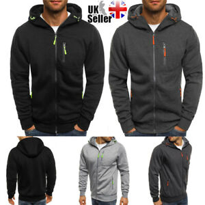 Mens Zip Up Hoodie Jacket Sweatshirt Hooded Pocket Casual Sports Coat Top Jumper