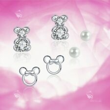 925 silver earrings set teddy bear Micky mouse pearl stud 3 pairs gift pack