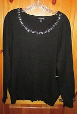 NEW Size 20 WOMENS BLACK SCOOP NECK LONG SLEEVE SWEATER Rhinestones