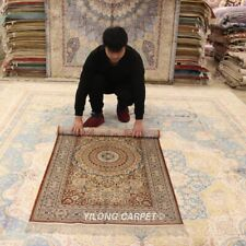 Yilong 3'x5' handmade silk rugs Living Room Oriental Carpets 009B