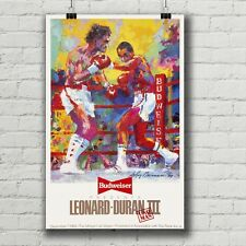 Sugar Ray Leonard vs. Roberto Duran III fight poster canvas print Leroy Neiman