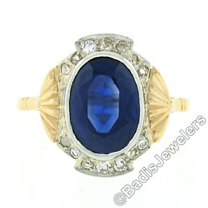 Antique French 18K Gold Platinum GIA Oval Synthetic Sapphire & Diamond Halo Ring