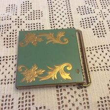 Vintage VOLUPTE Powder Compact Green Enameled Brass Unused