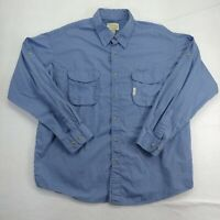 Cabela's Mens Extra Large XL Button Up Shirt Blue Collared Long Sleeve Cotton