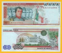 Mexico 5000 Pesos p-71 1980 (Serie A) UNC Banknote