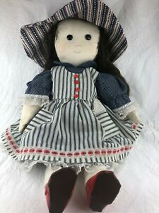 LOVELY RAG DOLL WITH CUTE RED SHOES - HAT, DRESS, DARK HAIR - NEEDS SOME TLC