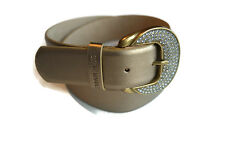 Steve Madden Belt Metallic Gold Rhinestone Buckle Women's M [a1122]