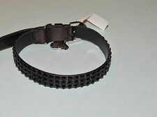 Authentic Judith Leiber  Gun Metal Lame' Large Dog Collar w Stones NWT $695.00