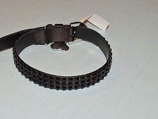 Authentic Judith Leiber  Gun Metal Lame' Large Dog Collar w Stones NWT $695.00