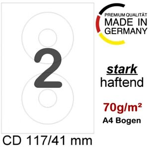 100 CD/DVD Etiketten 117/41mm Ringetiketten Aufkleber Haftetiketten L6043 DIN A4