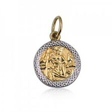 20% SALE! - Genuine 9Ct YG Sml Rhodium Edge St Christopher Charm - RRP $99.95
