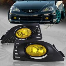 For 2005-2007 Acura RSX JDM Chrome Housing Yellow Lens Fog Driving Bumper Lights