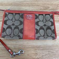 Authentic COACH Small Brown Canvas Clutch Handbag Purse