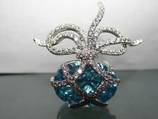 Blue Topaz and Diamond Brooch