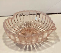 Fenton Art Glass Heart Shaped Pink Opalescent Ribbed Bowl With Stickers