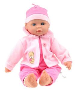 Babypuppe 40cm Mädchen Kinder Baby Spielpuppe rosa Weichkörperpuppe Lebensecht