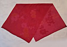 """VINTAGE AUTHENTIC KENZO JACQUARD FLOWERS RED PINK SILK WOOL 30"""" x 68"""" LONG SCARF"""
