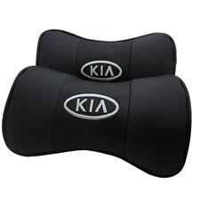2 Stück Schwarz Farbe Echtleder Autositz Nackenkissen Auto Kopfstütze Für Kia
