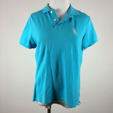 Ralph Lauren Gold Mens Polo Shirt M Turquoise Blue Classig Golf Fit Cabo Del Sol