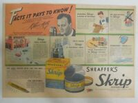 """Sheaffer's Skrip Ink Ad: """"World Parade"""" Radio Show  ! 1944 Size: 11 x 15 inches"""