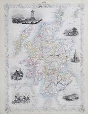 c1854 SCOTLAND Genuine Antique Map by Rapkin FREE SHIPPING WORLDWIDE