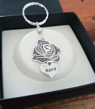 Beautiful NANA Rose Flower Rhinestone Keyring Key Ring