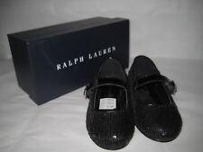 Ralph Lauren Kid's Etta Sequins Leather Ballet Flats Sz 9 NIB Black $88