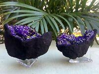 Purple Geode Pair Open Crystal Geode Gemstone Specimen Morocco Geode Dyed Reiki.