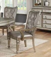 Coaster 107313 Danette Metallic Platinum Finish Upholstered Arm Chairs Set of 2