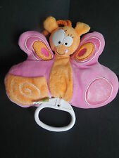 Doudou peluche musical papillon rose orange LIBOO 14cm