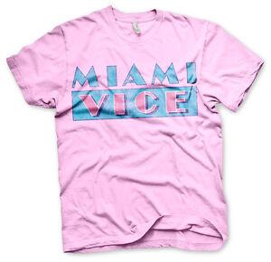 Miami Vice Distressed Logo 80s Tv Serie T-Shirt Männer Men Rosa Pink