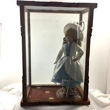 """Little Bo Peep Doll w Lamb, in Glass Case & Wood Frames (15"""")"""