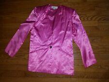 Vintage 80s Women's Hot Pink Fuschia Evening Suit Jacket shoulder pads size 12