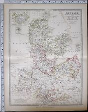 1881 LARGE ANTIQUE MAP DENMARK SCHLESWIG HOLSTEIN LAUENBURG HANOVER ZEALND