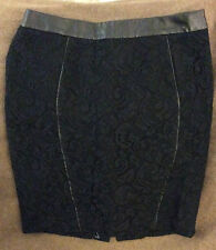 Ann Taylor Black Lace Pencil Skirt with Faux Leather Trim, Size 6