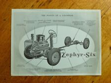 Zephyr-Six Abridged Specifications - 1952 double-sided dealer handout