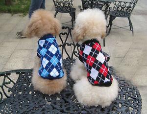 Dog Sweater Black Plaid XS S M L XL Knitted Jacket Jumper Puppy Coat Chihuahua