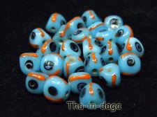 Lot 25 Perles Ø=0,7cm Verre Bijoux Artisanat Inde Bleu