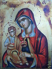 HAND PAINTED GREEK ORTHODOX ICON MARY