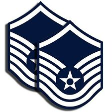 "AIR FORCE Rank Master Sergeant Sticker Military Decal 2 Pack 3"" tall"