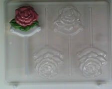 ROSE ON SCROLL LOLLIPOP CLEAR PLASTIC CHOCOLATE CANDY MOLD AO064