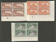 GIBRALTAR SELECTION OF 3 GVI PLATE BLOCKS VERY FINE AND FRESH MAINLY MNH