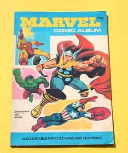 MARVEL SUPER HEROES COMIC ALBUM * Scarce 1975 Coloring Book * MARVELMANIA