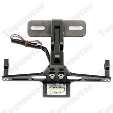 Black Motorcycle CNC License Plate Holder Bracket LED Light Fender Eliminator